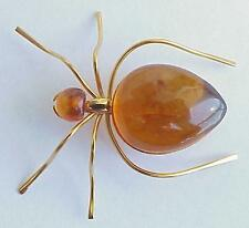 RUSSIA SOVIET USSR BALTIC AMBER GOLD SPIDER BROOCH SILVER JEWELRY  老琥珀 PIN ORDER