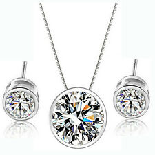 Romantic Wedding Zircon Round Pendants Ear Earring Necklaces Jewelry Set