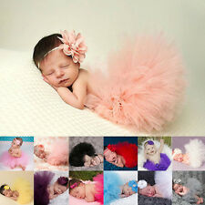 Cute Newborn Baby Girl Cozy Tutu Skirt Flower Headband Photo Prop Costume Outfit