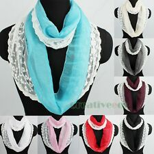 Fashion Floral Mesh Chiffon Infinity Loop Cowl Eternity Endless Casual Scarf New