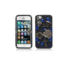 For Apple iPhone SE/5/5S Luxury 3D Diamond Skull With Rose Case Skin Cover Bling