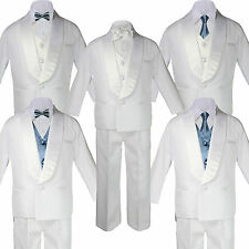 5-7pc Boy White Satin Shawl Lapel Suits Tuxedo DARK GRAY Satin Bow Necktie Vest