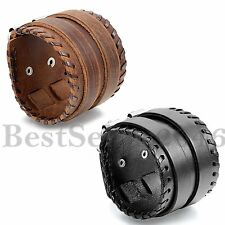 Men Unisex Black Brown Wide Leather Handmade Cuff Wristband Belt Bracelet Adj