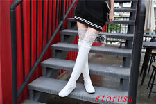 Sexy Women Lady Lace Trim Over Knee High Boots Shoes Silm Leg Boots Hidden Heel
