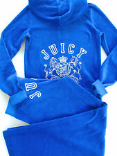Juicy Couture Velour Tracksuit Collegiate Crest Blue Hoodie Pants XS M RARE