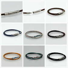 hot stainless steel 3mm Braided Genuine Leather Cord Necklace/Bracelet QQ
