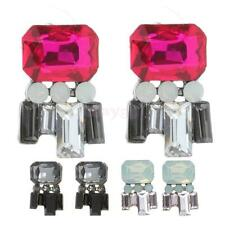 1 Pair Elegant Women Vintage Style Rhinestone Geometric Dangle Stud Earrings