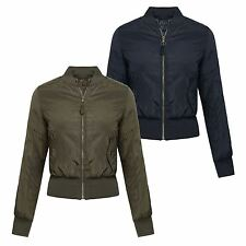 New Ladies Plus Size Bomber Padded Jacket Zip Up Winter Coat 8-24