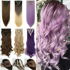 Premium 100% HOT Full Head Clip In Hair Extensions Brown Purple Hairpiece F3d