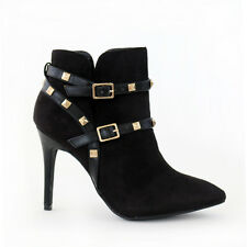 "Stylish Gold Studs Strap Ankle Boots Booties 4"" Stilettos Heel Black (B, M)"