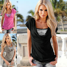Stylish Sexy Women Summer Short Sleeve Piles Collar T-Shirt Blouse Tops Solid