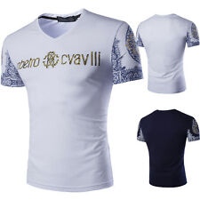 Stylish Mens Slim Fit V-Neck T-Shirt Short Sleeve Casual Letter Print Tops New