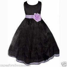 BLACK ORGANZA GIRL DRESS FLOWER PAGEANT FORMAL CHRISTMAS HOLIDAY 12M 2 4 6 8 10
