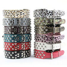 Dog Pets Studded Faux Leather Collar Large Dog Pitbull Bully Terrier Neck Collar