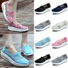 Womens Lace Leather Hollow Out Platform Slip On Pumps Shoes Mesh Sneakers SAU