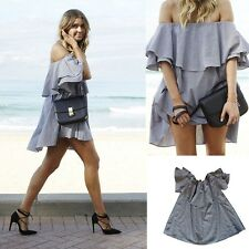 Women Sexy Off Shoulder Ruffle Tops Clubwear Evening Party A-line Mini Dress
