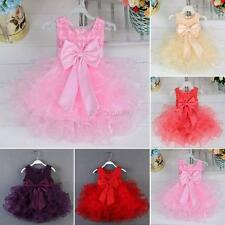 Baby Toddler Girl Kid Flower Princess Tulle Skirt Dress Wedding Party TUTU Dress