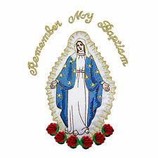 Virgin Mary Full Embroidery Christening Baptism Silver Gold Santa Maria Patch
