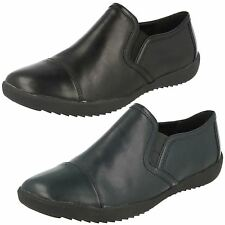 Ladies Clarks Belgrave Venus Black Or Navy Leather Slip On Casual Shoes