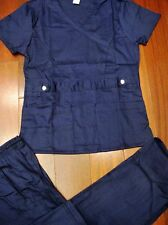 1064 Beautiful STRETCH FABRIC Nurse Medical Uniform Fashion Scrubs Set Navy Blue