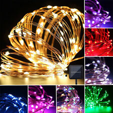 Lamp Copper LED Solar Powered Fairy String Xmas Tree Party Lights Outdoor Garden