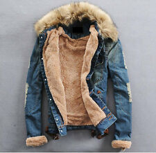 Stylish Thick Fur Mens Jeans Denim Warm Collar Western New Cowboy Jacket Outwear