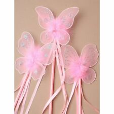 BUTTERFLY PRINCESS FAIRY WAND GLITTER DETAIL RIBBONS FANCY DRESS FLOWER GIRL