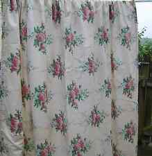 Vintage Curtains Bespoke Shabby Chic ROSES Lined & 100% Cotton 64x75''/164x192cm