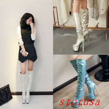 Women High Block Heel Platform Knee High Boots Knight Boots Shoes Dance Size New