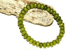 5 x 8mm FACETED ABACUS SHAPED PERIDOT GEMSTONE BEADED STRETCH CHARM BRACELETS