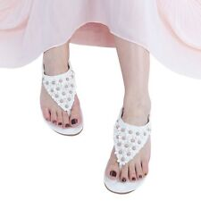 New Summer Women Bohemia Floral Flat Shoes Beach Sandal Thong Slippers SCA