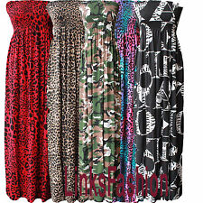 Ladies Womens Printed Boobtube Gathered Bandeau Sheering Long Maxi a Lot Dress