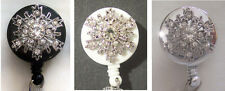 SNOWFLAKE Rhinestone BLING Retractable ID Card Holder/Badge Reel/Key Chain Ring