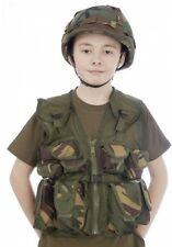 Kids Army Camouflage Helmet + Assault Vest Combo - Fits Ages 5-14
