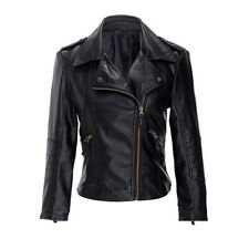 New Womens Biker Jacket Faux Leather Fitted Gold Zip Jacket Size 8 10 12 14 -j11