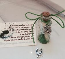 GOOD LUCK WISH IN A BOTTLE FOUR LEAF CLOVER / HORSESHOE CHARM FOR BAG CARD GIFT