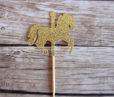 10* Carousel  Party Picks Cupcake Toppers Toothpicks Food Picks Golden Silvery