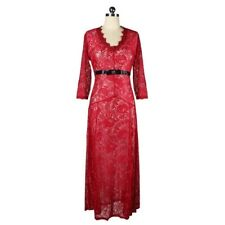 Lace Hollow Full Dress V Neck Frill Dress   wine red