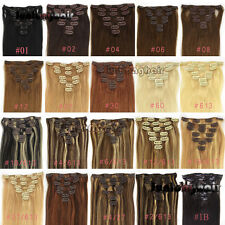 10pcs Deluxe Thick Virgin Clip In 100%Real Human Hair Extensions Any Colors 190g