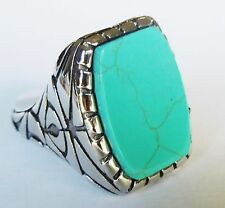 Man's Woman's  Stainless Steel New Design blue Turquoise Ring Size 9 to 14