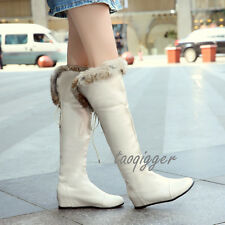 Women's Fur Lined Wedge Hidden Heel Over The Knee High Boots Snow Boots Fashion