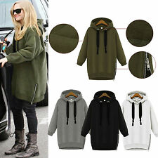 NEW Womens Casual Hoodies Long Sweatshirt Hoody Zip Jacket Coat Sweater Jumpers