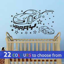 CARS PERSONALISED custom name boys wall art sticker decal car nursery bedroom