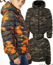 BOYS PARKA COAT CAMOUFLAGE JACKET ARMY FUR TRIM HOOD MILITARY WINTER SCHOOL KNI