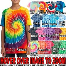 Youth Tie Dye Spirals T-Shirt Tye Died Tee XS, S, M, L, XL Boys Girls Kids Child
