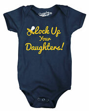 Lock Your Daughters Up Funny Parenting Baby Infant Bodysuit (Navy)