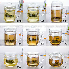 Various Heat Resisting Clear Glass Tea Water Office Cups w/ Infuser Lid & Handle