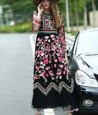 Fashion 16 high-end runway style occident fashion gauze embroidery dress S-2XL