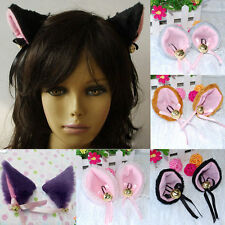 Cosplay Party Cat Fox Faux-Fur Ears Bell Anime Costume Hair Clip MultiColor jye