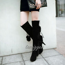Women POMPOM Stiletto Over The Knee High Boots Faux Suede Knight Boots Plus Size
